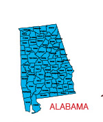 Alabama Us State County Map Editable