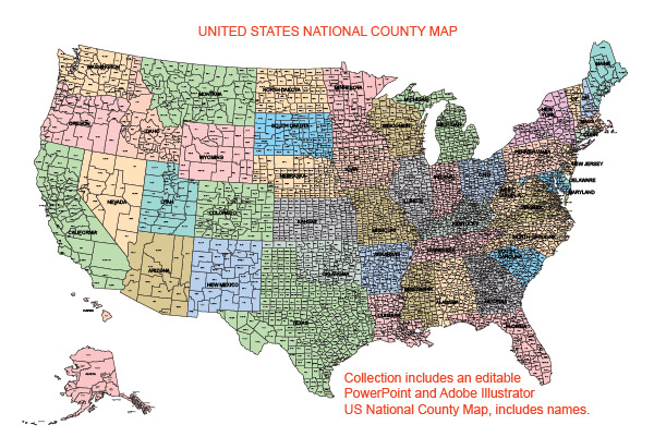 Usa National County Map Editable Powerpoint